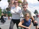 Butch Vig, Eric Avery and Taylor Hawkins in Moscow
